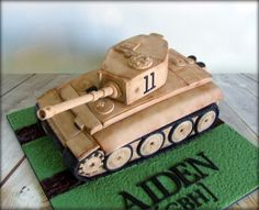 This cake overtook and stressed me a little, as I was concerned I wouldn't get the shape! Army Tank Cake, Army Cake, Military Cake, Cake Icing, Cupcake Cakes, Going Away Cakes, Lane Cake, Chocolate Mud Cake, Fondant