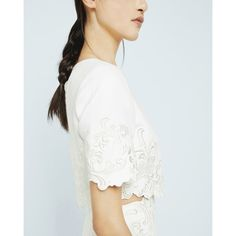 Ted Baker Embroidered cropped top (£155) ❤ liked on Polyvore featuring tops, cream, white short sleeve top, cream crop top, short sleeve crop top, short sleeve tops and cut-out crop tops
