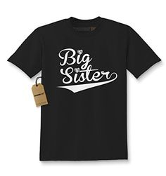 Kids Big Sister T-Shirt Small Black. Great shirt for Birth Announcements - Perfect for Adult Siblings too!. New brother or sister coming soon? Make your little girl feel special in our Big Sister clothing. Printed and designed in the U.S.A. using top quality garments for comfort and style. We use state of the art equipment to ensure vibrant colors and lasting durability on every piece of clothing apparel we sell. Our professionally printed Kids T-shirts are 6 oz. preshrunk 100% cotton…