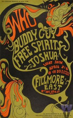 1968. The Who, Buddy Guy, Free Spirits at the Fillmore East. Artist Helen Hersh.