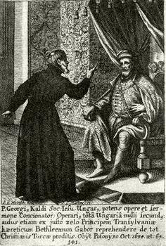 Bethlen Gábor és Káldi György vitája. Rézmetszet 1694-ből.