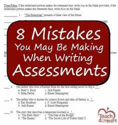 Trying to come up with good assessment questions that accurately gauge the students' understanding can be challenging. Here are some common mistakes that teachers make when writing tests. Writing Assessment, Writing Test, Summative Assessment, Teaching Strategies, Teaching Tips, Teaching Art, Teacher Resources, Teacher Blogs, Teacher Stuff