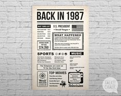 This BACK IN THE DAY poster is filled with fun facts and highlights of what happened in the year 1987. This poster has an antiqued paper background for for that back in the day vintage newspaper feel. Bold typography with simple icons give the poster a timeless style. This poster makes a