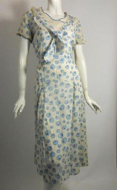 1930s blue deco dot starched  cotton day dress with sailor knot