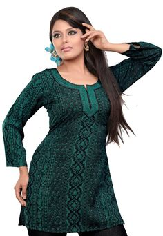 Indian Kurti Top Tunic Printed Womens Blouse India Clothes (Green, S)