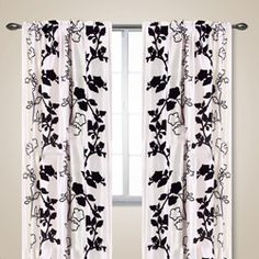 white and black vines 84inch curtain panel set