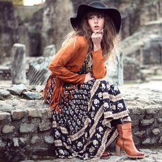 Gorgeous French blogger @dollpoupee in our Bohemian Royal maxi dress - the girl knows boho ;)