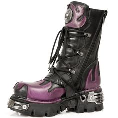 Quality Black Leather New Rock Boots w Dark Purple Flames on the Front, Back and top. 4 Buckles to adjust for comfort and fit. Zip on inner leg. NOW ONLY $249.99 w Shipping Included!  http://www.newrockbootsusa.com/purple-flame-boots.html