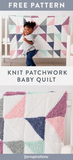 Free Knit Patchwork Baby Quilt pattern using Bernat Baby Velvet yarn. A modern twist on vintage quilts, little ones love snuggling under this cozy blanket. Practice with garter stitch, intarsia and fun mitered squares in this plush, soft blanket project. #Yarnspirations #FreeKnitPattern #KnitBlanket #BabyBlanket #KnitBabyBlanket #BabyKnits #BernatYarn #BernatBabyBlanket #BernatVelvet #VelvetYarn Easy Knit Baby Blanket, Bernat Baby Blanket, Knitted Baby Blankets, Soft Blankets, Love Knitting Patterns, Baby Quilt Patterns, Free Knitting, Baby Knitting, Blanket Patterns