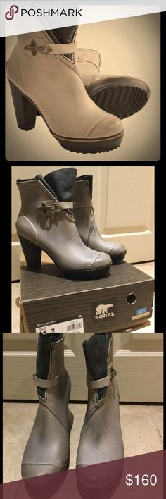 "BF 💲✂️NIB Sorel Medina Rain Heel - Silver Sage Awesome waterproof rain boots that are comfortable and classy.  Completely vulcanized rubber upper and heel provide protection from the elements.  Felt lined collar for added comfort and style.  Metal buckle detail around the ankle.  Heel height approx 3.5"". Platform height: 1"". Make an offer! Sorel Shoes Winter & Rain Boots"