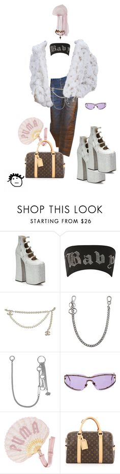 """""""Bad gal"""" by crushedrosepetals ❤ liked on Polyvore featuring Marc Jacobs, Jaded, Chanel, Dsquared2, Valentino, Salvatore Ferragamo, Puma and Louis Vuitton"""