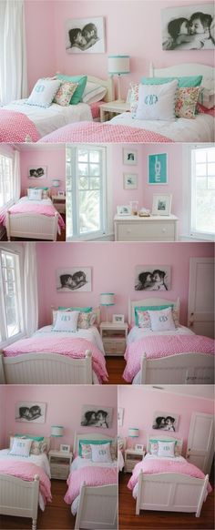 a cute shared girls room. Maybe if my sister and I had a room this cute there would have been less fights. Love this room!Such a cute shared girls room. Maybe if my sister and I had a room this cute there would have been less fights. Love this room! Sister Bedroom, Bedroom Girls, Coral Bedroom, Pink Bedroom For Girls, Men Room, Princess Room, Daughters Room, Little Girl Rooms, Little Girls Room Decorating Ideas Toddler