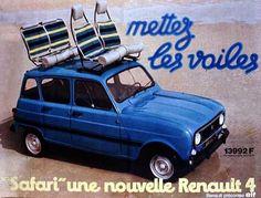 """Affiche publicitaires pour la sortie de la Renault 4 """"Mettez les voiles"""""""