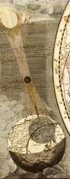 Travel Through Time With These Strange and Beautiful Visualizations of the Universe. A depiction of a total eclipse that occurred on May Courtesy the Library of Congress via Wired. Eclipse Solar, Lunar Eclipse, Total Eclipse, Space Time, Sacred Geometry, Magick, Witchcraft, Astronomy, Cosmos