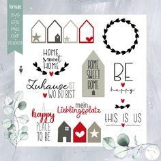 """Plotterdatei """"Home Sweet Home + Box und Windlicht+ Papiere"""" - beemybear Silhouette Cameo Freebies, Silhouette Portrait, Sweet Home, Free Prints, Diy And Crafts, Projects To Try, Card Making, Ornament, Presents"""