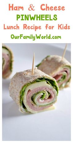 Want to make back to school lunch recipes fun and healthy? Try these cute ham & cheese pinwheel sandwiches!