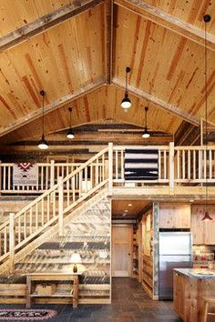 Open concept kitchen/living space with high ceilings/loft above. | Cabin life | Pinterest | Open Concept, Traditional Staircase and Cabin