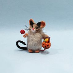 Very miniature little Halloween trick or treat mouse in cat costume with cat ears, tail, and very tiny sucker and pumpkin bucket filled with candy! Halloween Trick Or Treat, Happy Halloween, Pumpkin Bucket, Halloween Miniatures, Polymer Clay Animals, Cat Costumes, Cat Ears, Candy, Bird