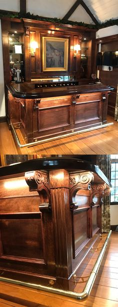 8 ft Victorian Brass Bar Foot Rail Kit /& 3 Decorative Brackets 2 Ornate Caps