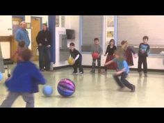 """Practice Elementary Ball Skills Then Play """"Poison Ball"""" Game 1st Grade UMS PE…"""