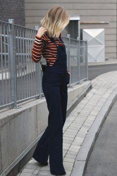 Zara Overalls + Striped Sweater