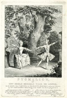 Theatre scene with a girl and a boy (a dressed up girl) dancing in a wood; after George van der Myn.  1759 Etching