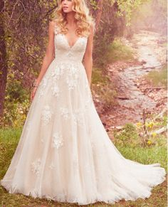 Featuring polka dot netting and an ultra-flattering silhouette, this lace number offers a chic update to the sleeveless ball gown wedding dress. Vintage Inspired Wedding Dresses, Dream Wedding Dresses, Bridal Dresses, Vintage Dresses, Natural Wedding Dresses, Sleeveless Wedding Dresses, Whimsical Wedding Dresses, Elegant Dresses, Spring Wedding Dresses