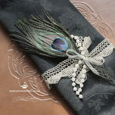 lace and peacock napkin ties www.bohemiandreams.co.uk