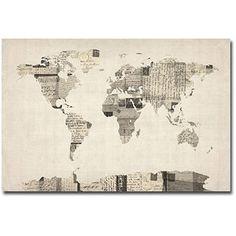 "Trademark Art ""Vintage Postcard World Map"" Canvas Art by Michael Tompsett"