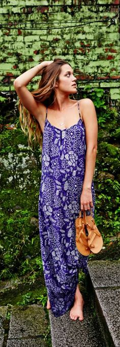 50 shades of indigo in the Roxy Stillwater Maxi Dress