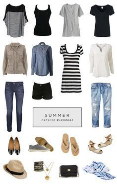 *favorite* Summer Capsule Wardrobe (straight from her board). Great article with links. *favorite* Summer Capsule Wardrobe (straight from her board). Great article with links. Travel Wardrobe, Summer Wardrobe, Travel Outfits, Minimalist Wardrobe, Minimalist Fashion, Minimalist Style, Summer Minimalist, Mode Outfits, Casual Outfits