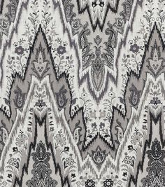 Home Decor Print Fabric-  Williamsburg Bray Flamestitch Black Orchid