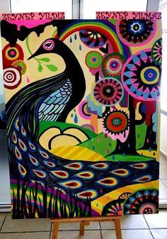 mdf üzerine guaj boya. ortaokul görsel sanatlar etkinliği