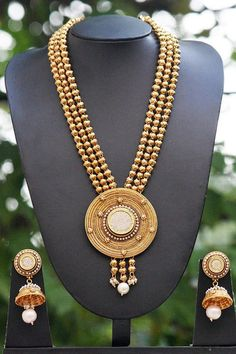 Designer Thewa Necklace Set with Pearl & Polki
