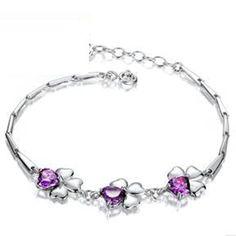 Revenne Jewelry Swarovski Elements Crystal Three Bloom Purple Bracelet High Quality Low Price R061
