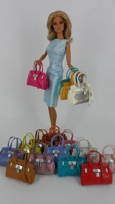 Accessories Handbag Purse for Fashion Royalty Barbie Made from Genuine Leather