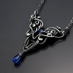 Blue Sapphire Jewelry Kyanite Necklace  Fine by sarahndippity, $117.00