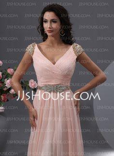 Vestidos princesa/ Formato A Decote V Chá comprimento chiffon Vestido de baile com Pregueado Beading (018022748) - JJsHouse