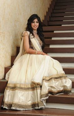 Ivory. Gold. Brown. Silver. #indianhoutfit #lengha