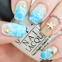 Pretty Nail Art Ideas for Summer - Spring Break: Beach Nails - Cool Easy DIY Nail Art and Nailart For Summer, For The Beach, With Designs And Colors Like Neon, Acrylic, French Nailart and Gel Ideas. These Are Step By Step, Easy, and Quick and Simple - http://thegoddess.com/nail-art-ideas-for-summer