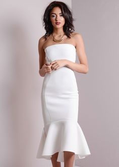 Strapless Mermaid Fishtail Off Shoulder Midi Bodycon Dress White
