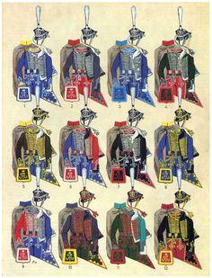 Hussar Regts. 1812-15. 1. Lubieński, 2. Soumski, 3. Grodno, 4. Olwiopol, 5. Achtyrska, 6. Bielorussia, 7. Alexandrinsk, 8. Mariupol, 9. Izium, 10. Elizawetgrad, 11. Pavłovgrad, 12. Irkutsk by P. Kosmoliński.