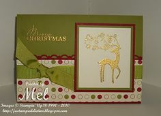 """Stamps:  Dasher, Contempo Christmas  Cardstock:  Old Olive, Cherry Cobbler, Very Vanilla, Jolly Holiday DSP  Ink:  Versamark  Accessories:  Scallop Trim Border Punch, Gold Embossing Powder, Heat Gun, 5/8"""" Old Olive Grosgrain Ribbon, Mini Glue Dots, Stampin' Dimensionals"""