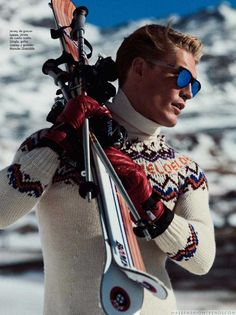 Male Fashion Trends: Harry Goodwings esquía en la nieve para GQ España en fotos de Álvaro Beamud