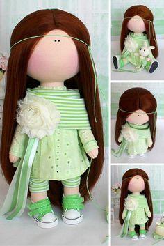 Textile doll Fabric doll Handmade doll Soft doll Love doll light green color Rag…