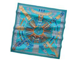 Scarves Hermès Blue - Silk Twill - Scarves 90 - Women | Hermès, Official Website