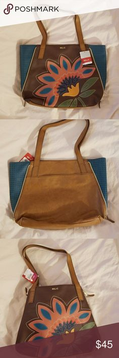 """Relic handbag NWT Relic handbag. Nice bag with great colors of Brown, teal, green, black, rust. The sides zip up to change the shape of the bag. 12"""" high, 14"""" across, 4"""" wide. Fits on  the shoulder nicely. Relic Bags Totes"""