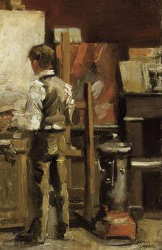 Isaac Israëls (Dutch, 1865-1934), The painter in his studio. Oil on panel, 32 x 21 cm.
