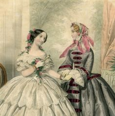 Antique French Print Les Belles Dames 1855 by miscellanydetalaru