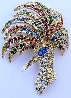 Large Trifari Rhinestone Bird Of Paradise Peacock Brooch Pin Designer Signed